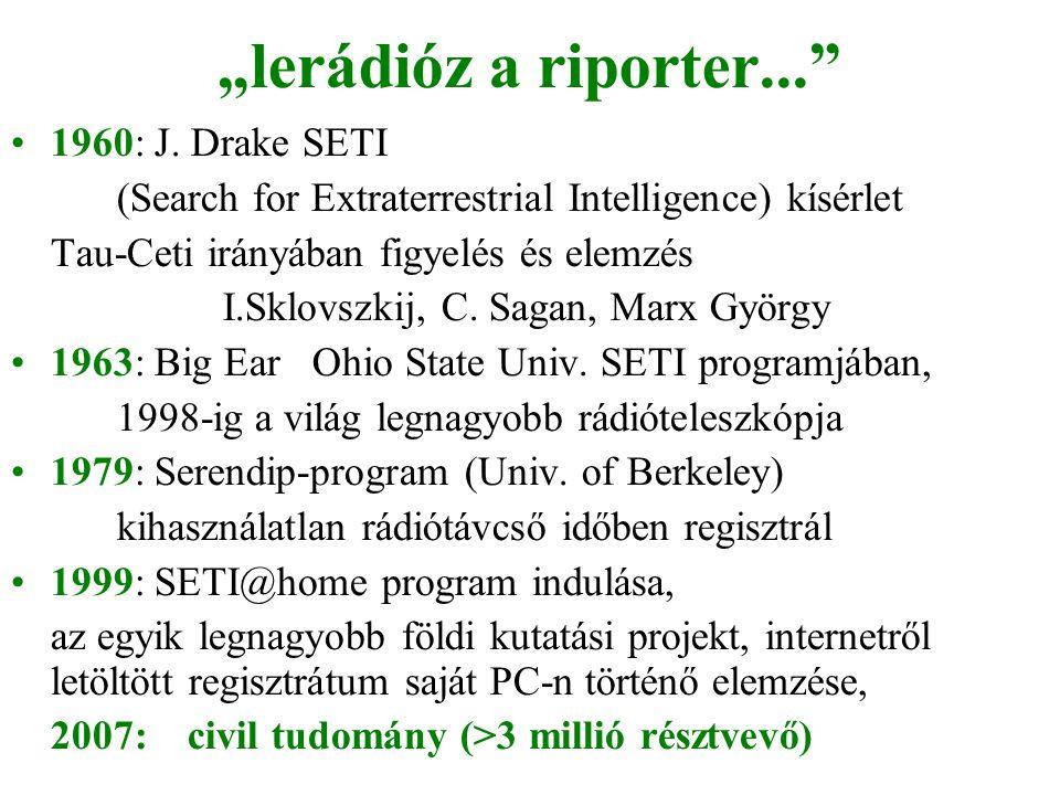 """""""lerádióz a riporter... 1960: J. Drake SETI"""