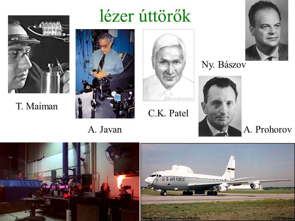 lézer úttörők Ny. Bászov T. Maiman C.K. Patel A. Javan A. Prohorov