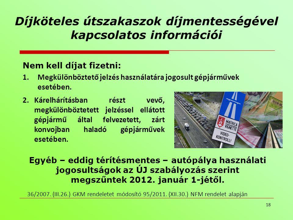 Díjköteles útszakaszok díjmentességével kapcsolatos információi