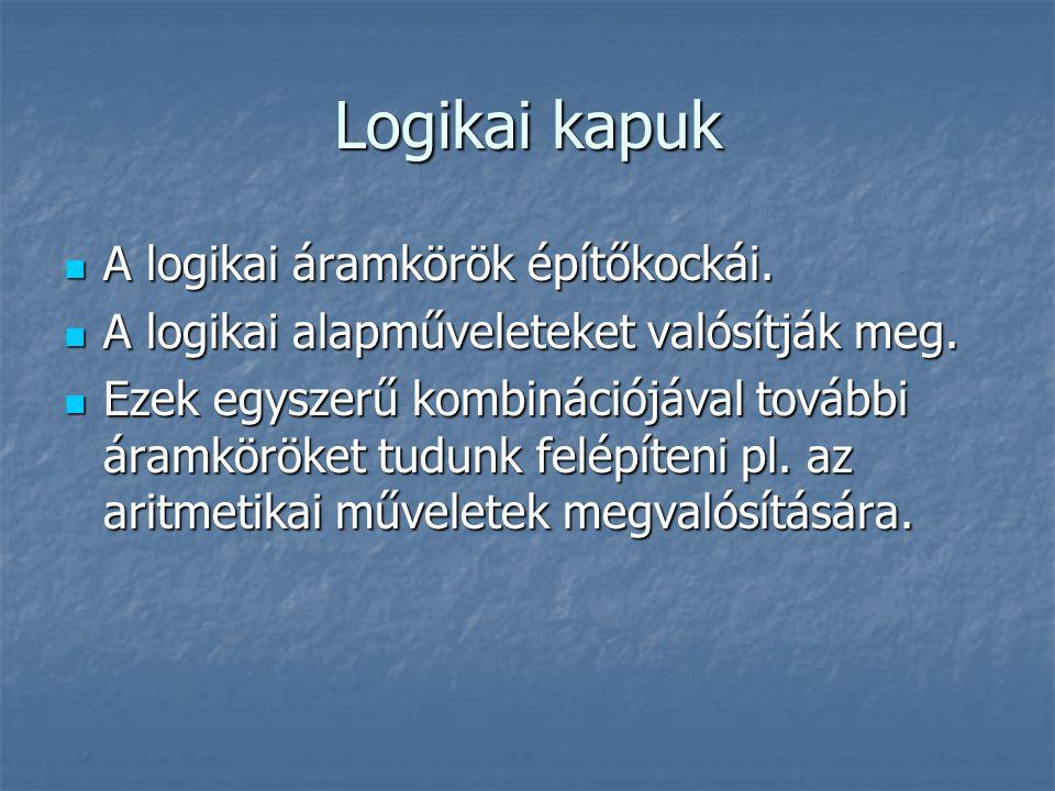 Logikai kapuk A logikai áramkörök építőkockái.