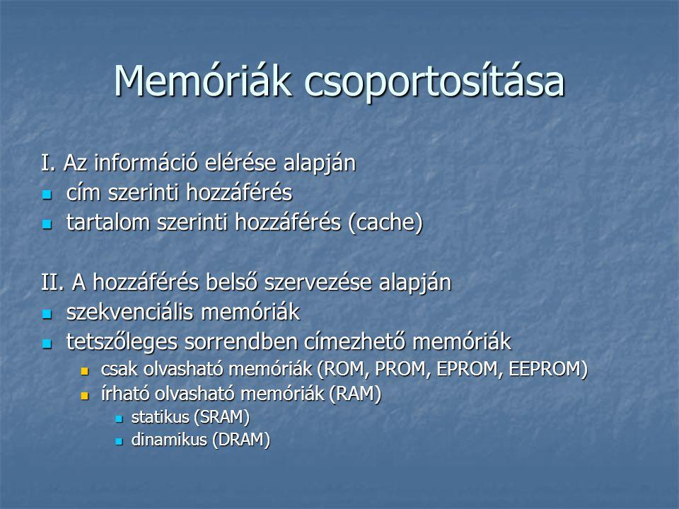 Memóriák csoportosítása