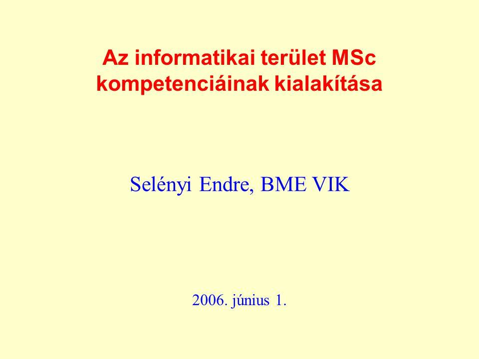Az informatikai terület MSc kompetenciáinak kialakítása