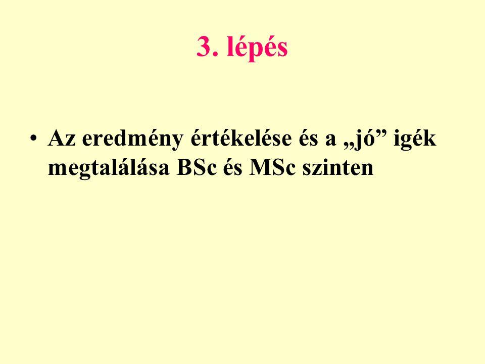 """3. lépés Az eredmény értékelése és a """"jó igék megtalálása BSc és MSc szinten"""