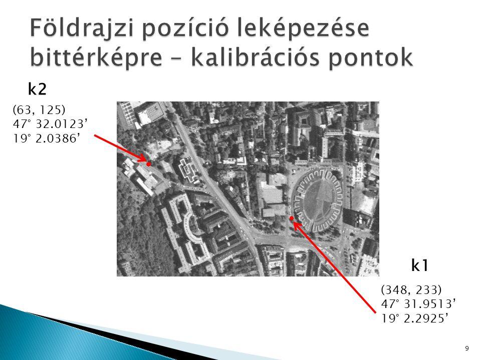 Földrajzi pozíció leképezése bittérképre – kalibrációs pontok