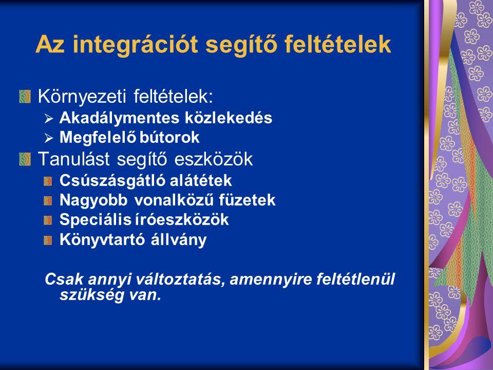 Az integrációt segítő feltételek