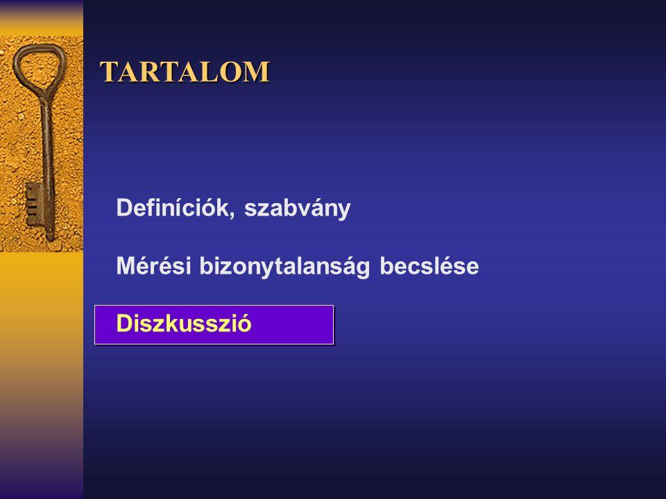 TARTALOM Definíciók, szabvány Mérési bizonytalanság becslése