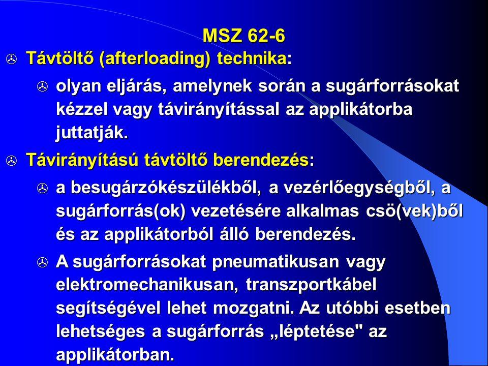 MSZ 62-6 Távtöltő (afterloading) technika: