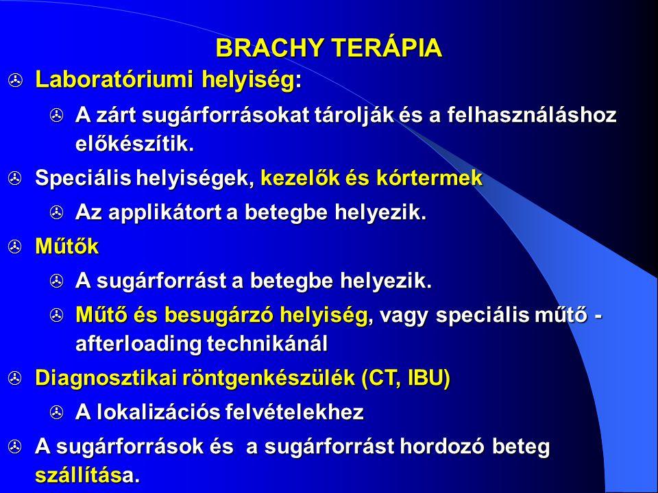 BRACHY TERÁPIA Laboratóriumi helyiség: