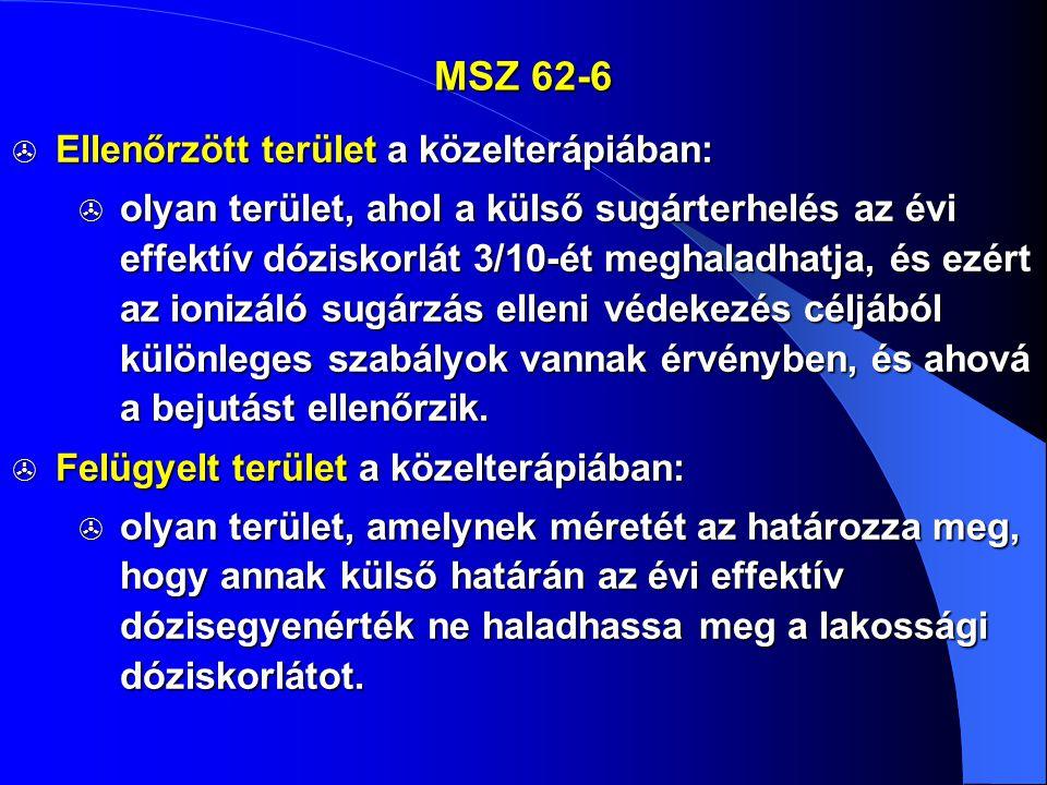 MSZ 62-6 Ellenőrzött terület a közelterápiában: