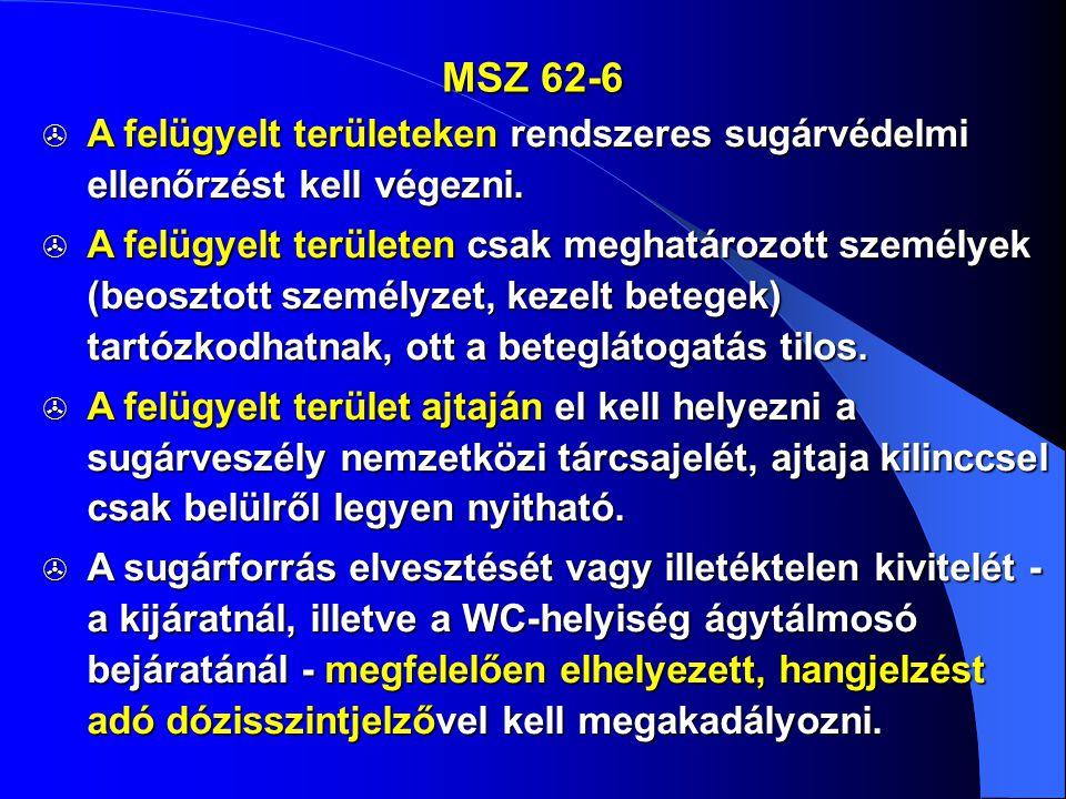 MSZ 62-6 A felügyelt területeken rendszeres sugárvédelmi ellenőrzést kell végezni.