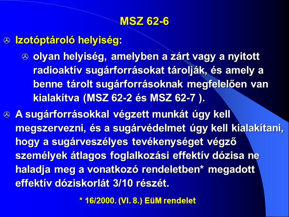 MSZ 62-6 Izotóptároló helyiség: