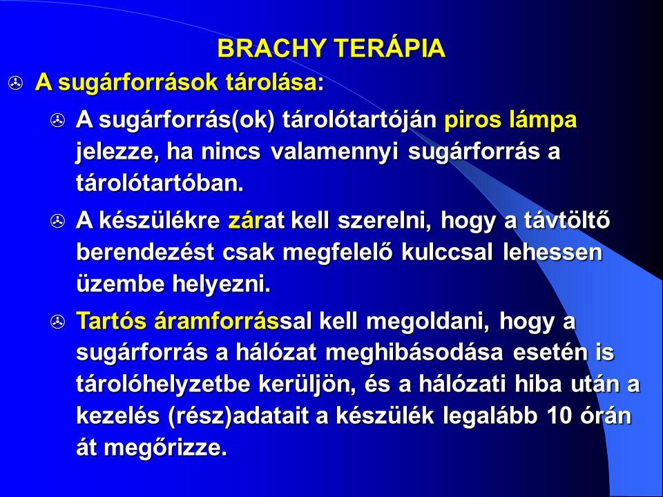 BRACHY TERÁPIA A sugárforrások tárolása: