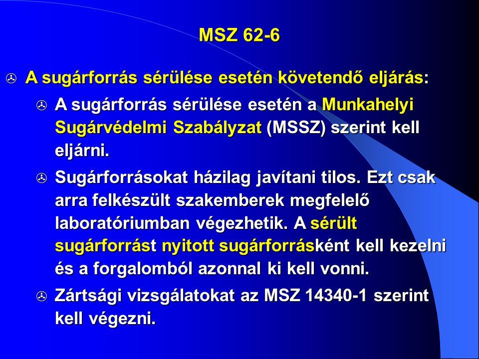 MSZ 62-6 A sugárforrás sérülése esetén követendő eljárás: