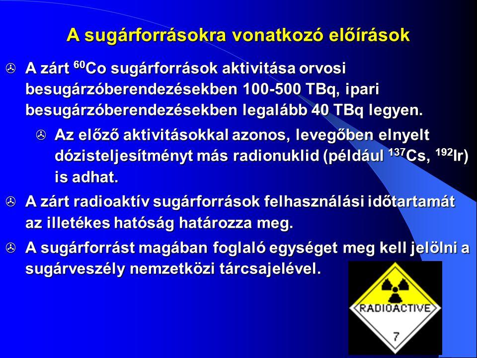 A sugárforrásokra vonatkozó előírások