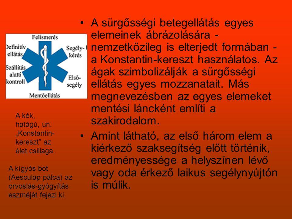 A sürgősségi betegellátás egyes elemeinek ábrázolására - nemzetközileg is elterjedt formában - a Konstantin-kereszt használatos. Az ágak szimbolizálják a sürgősségi ellátás egyes mozzanatait. Más megnevezésben az egyes elemeket mentési láncként említi a szakirodalom.
