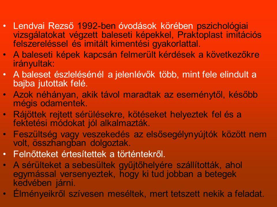 Lendvai Rezső 1992-ben óvodások körében pszichológiai vizsgálatokat végzett baleseti képekkel, Praktoplast imitációs felszereléssel és imitált kimentési gyakorlattal.