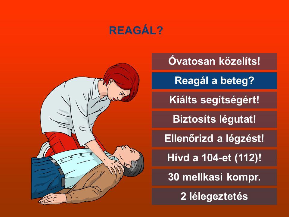 REAGÁL Óvatosan közelíts! Reagál a beteg Kiálts segítségért!
