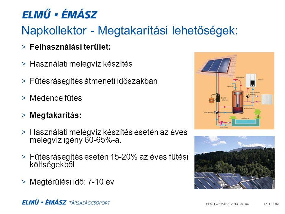 Napkollektor - Megtakarítási lehetőségek: