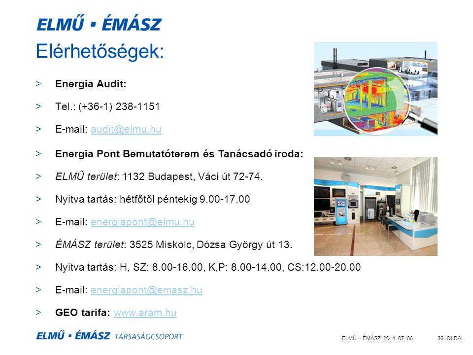 Elérhetőségek: Energia Audit: Tel.: (+36-1) 238-1151