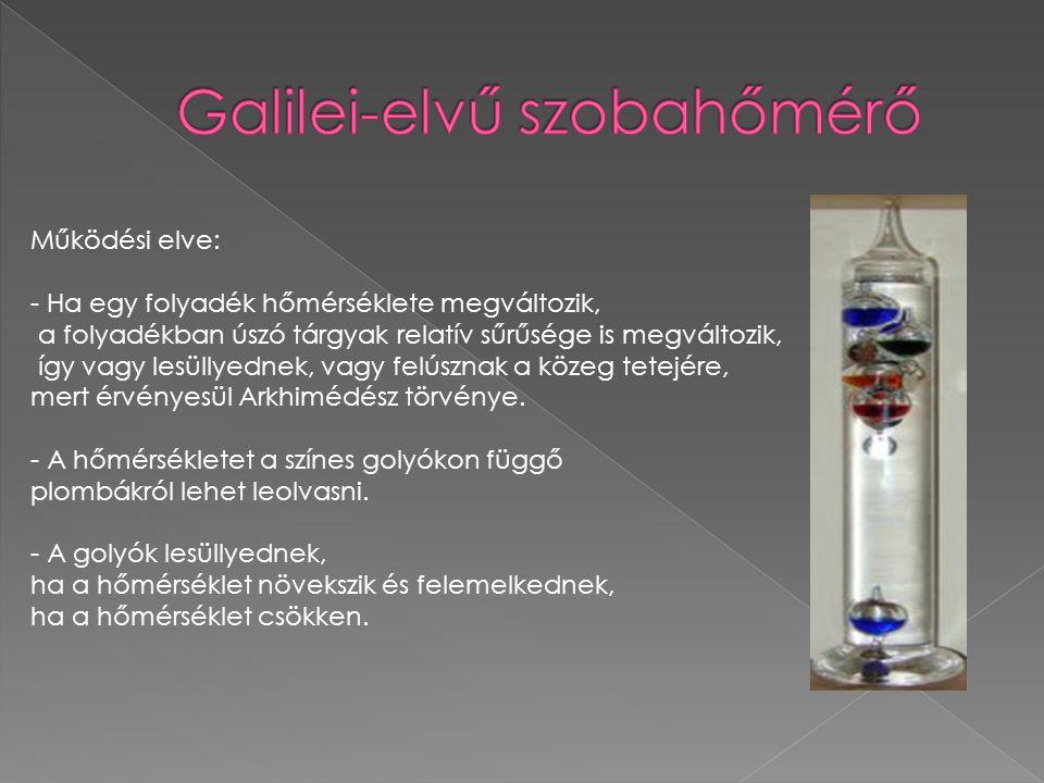 Galilei-elvű szobahőmérő