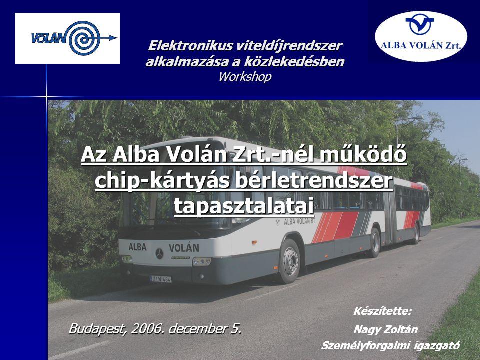 Elektronikus viteldíjrendszer alkalmazása a közlekedésben Workshop Az Alba Volán Zrt.-nél működő chip-kártyás bérletrendszer tapasztalatai