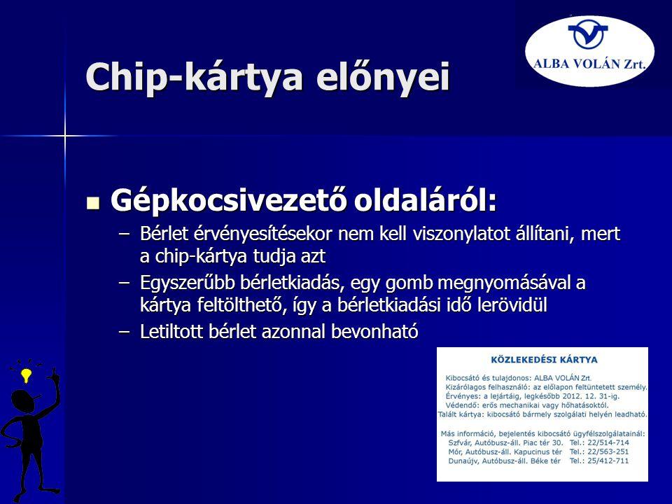 Chip-kártya előnyei Gépkocsivezető oldaláról: