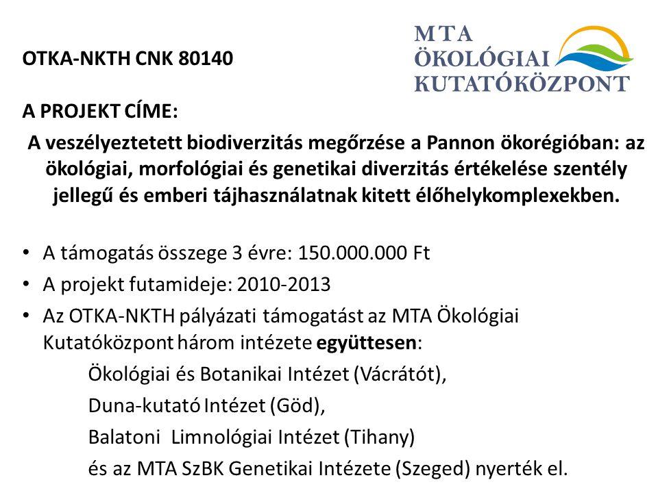 OTKA-NKTH CNK 80140 A PROJEKT CÍME: