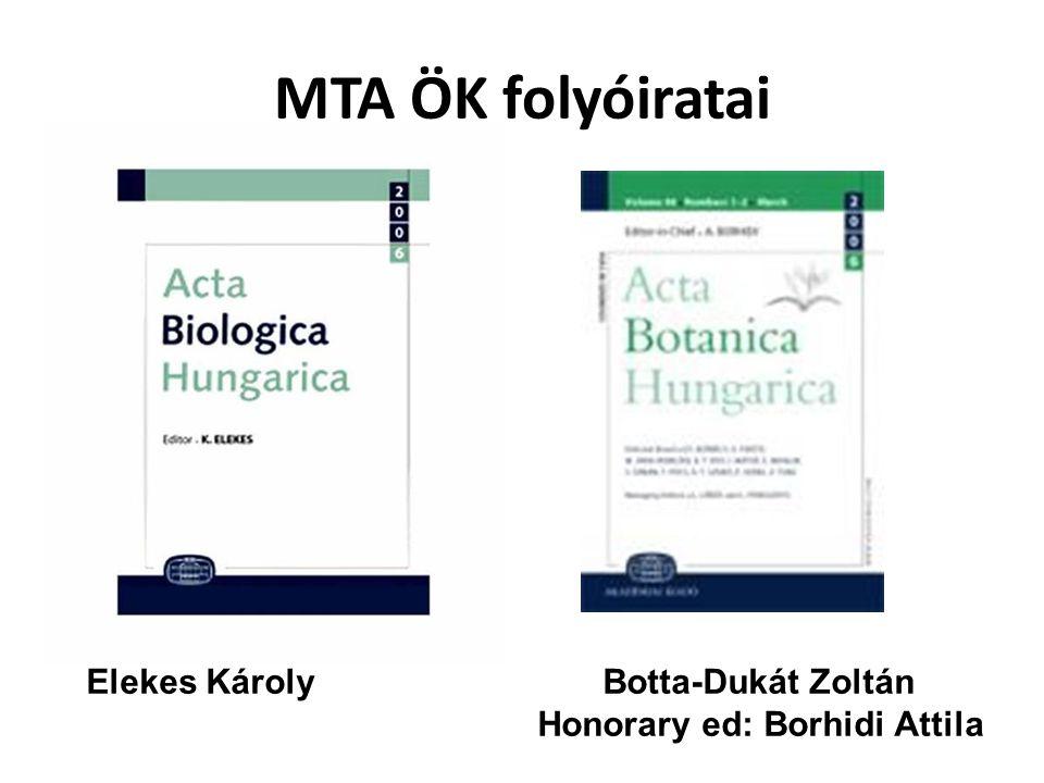 MTA ÖK folyóiratai Elekes Károly Botta-Dukát Zoltán