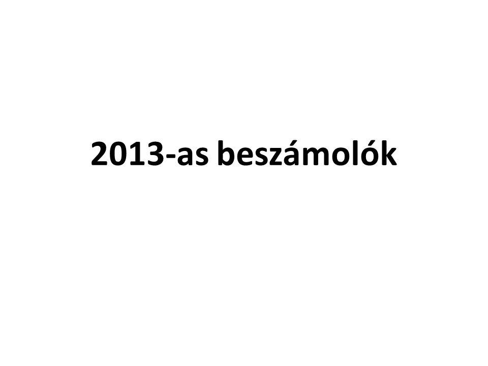 2013-as beszámolók