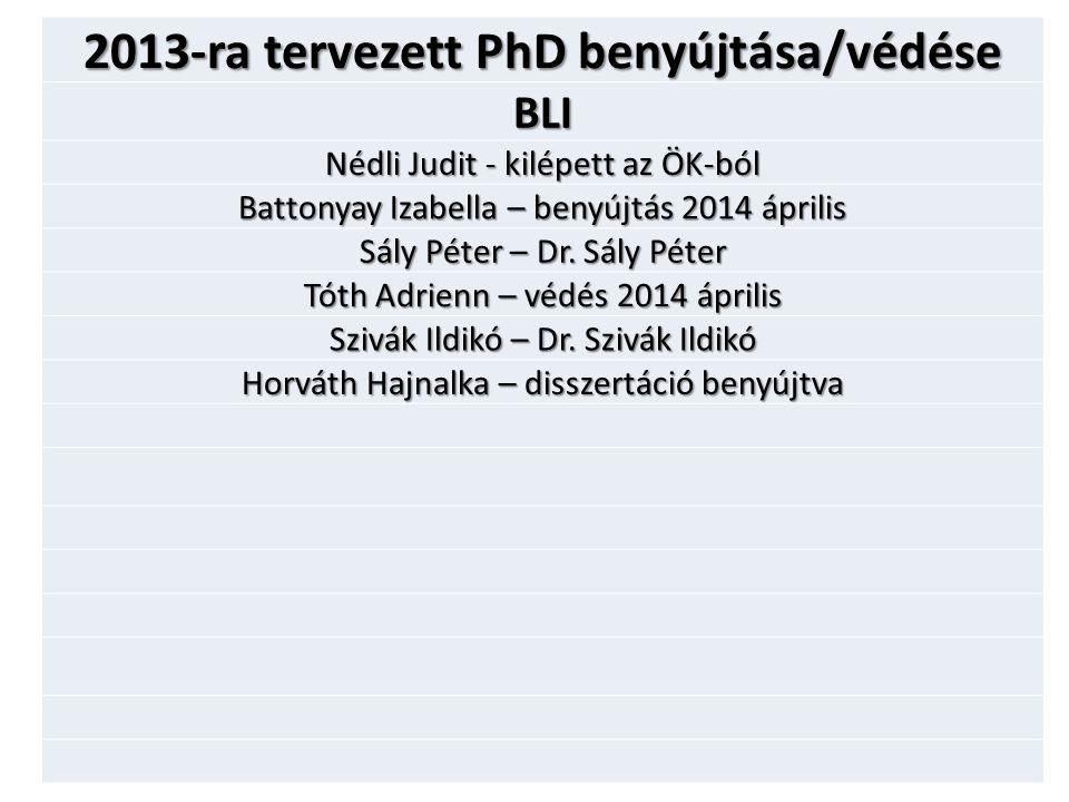 2013-ra tervezett PhD benyújtása/védése