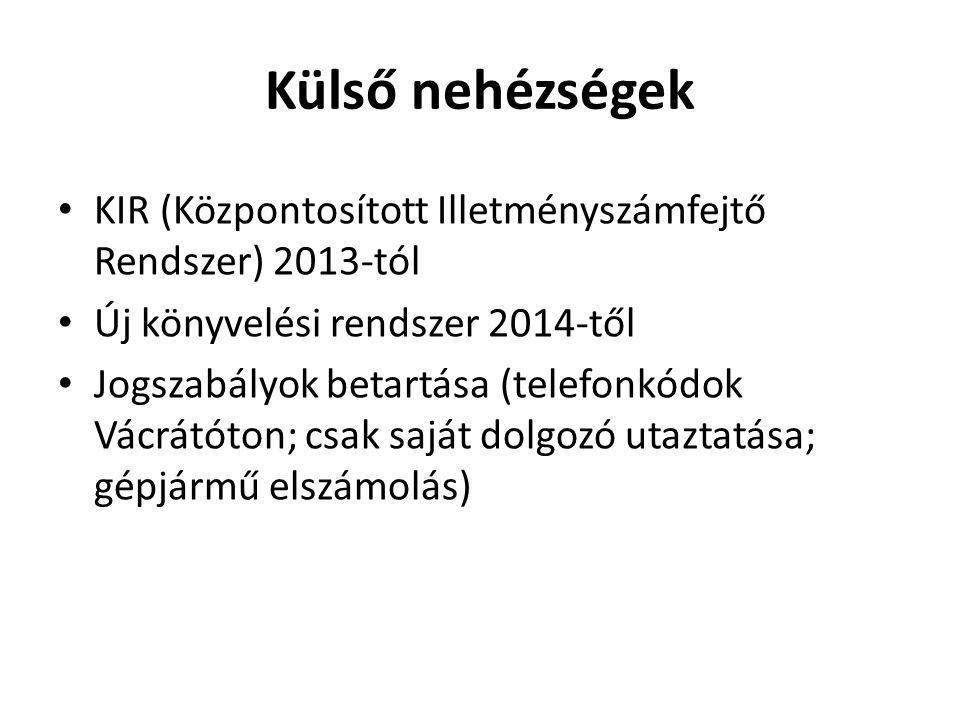 Külső nehézségek KIR (Központosított Illetményszámfejtő Rendszer) 2013-tól. Új könyvelési rendszer 2014-től.