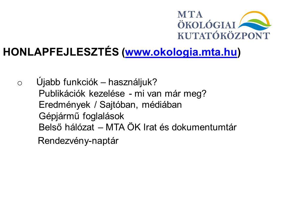 HONLAPFEJLESZTÉS (www.okologia.mta.hu)