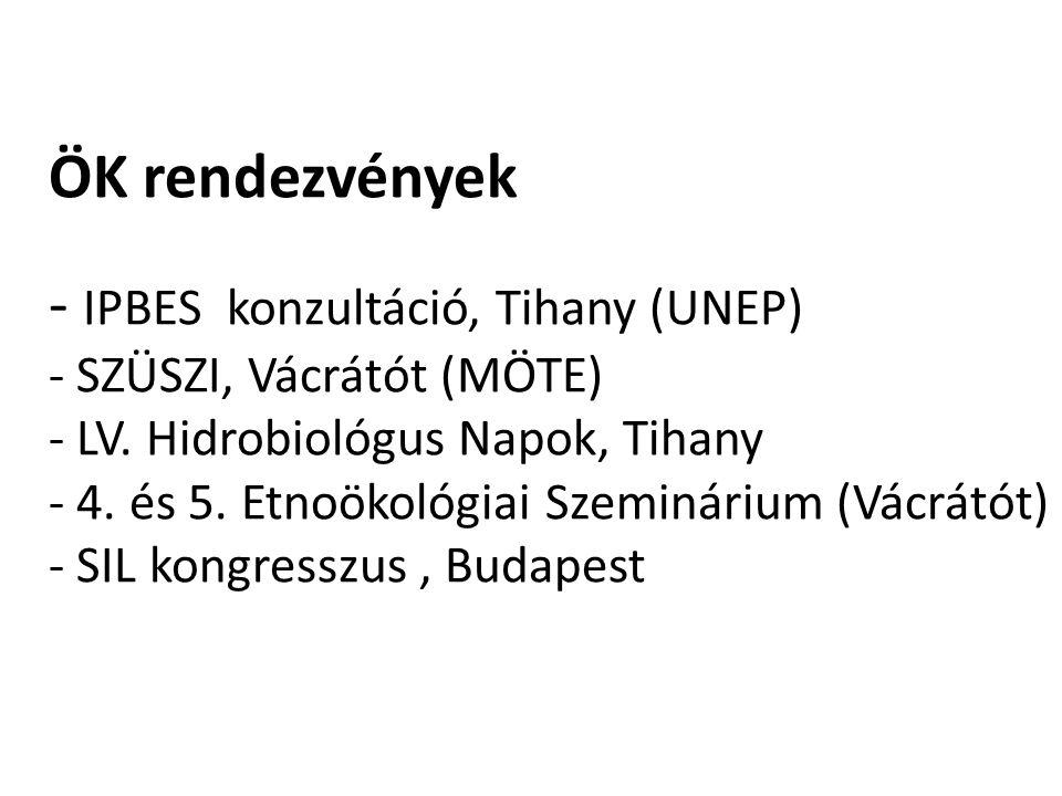 ÖK rendezvények - IPBES konzultáció, Tihany (UNEP) - SZÜSZI, Vácrátót (MÖTE) - LV.