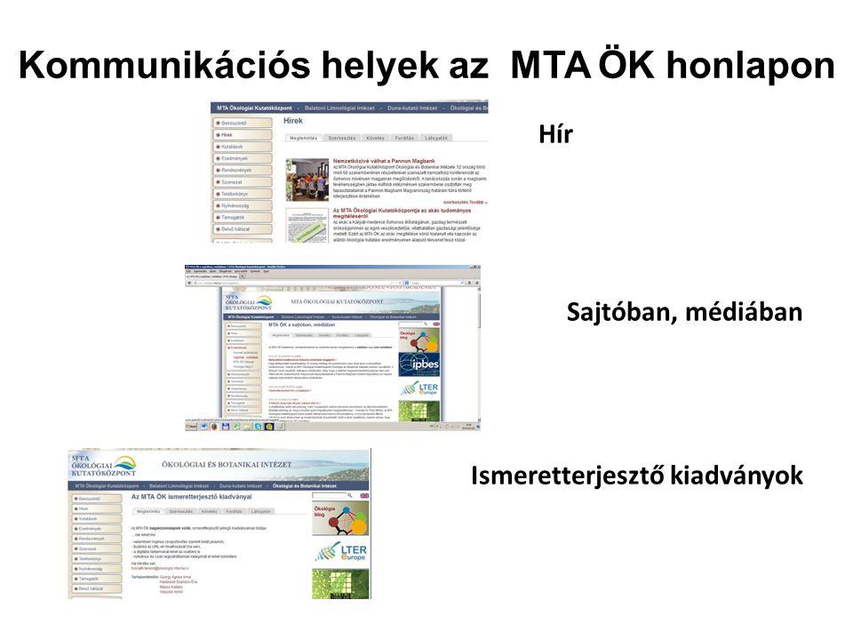 Kommunikációs helyek az MTA ÖK honlapon