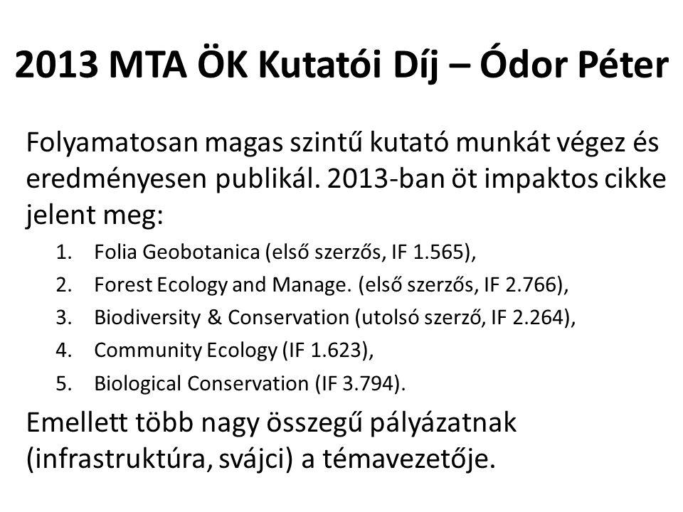 2013 MTA ÖK Kutatói Díj – Ódor Péter