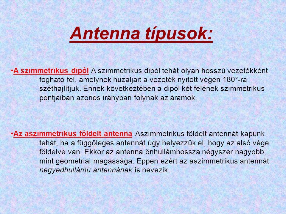 Antenna típusok:
