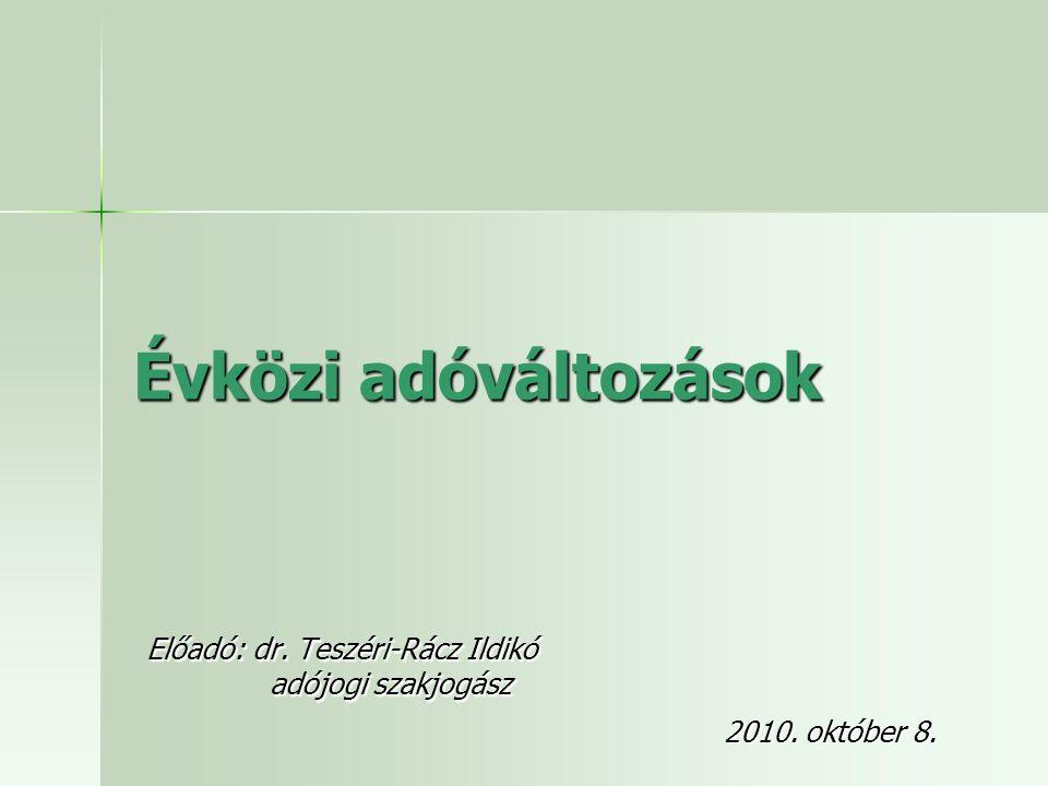 Előadó: dr. Teszéri-Rácz Ildikó adójogi szakjogász