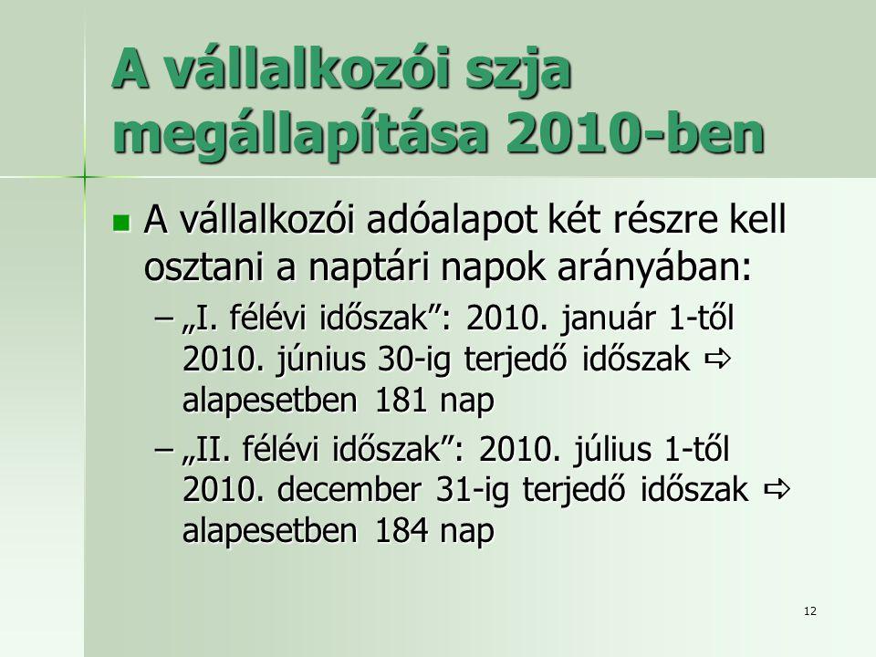 A vállalkozói szja megállapítása 2010-ben