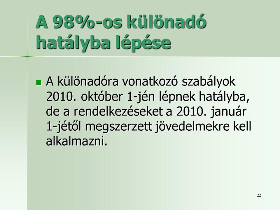 A 98%-os különadó hatályba lépése