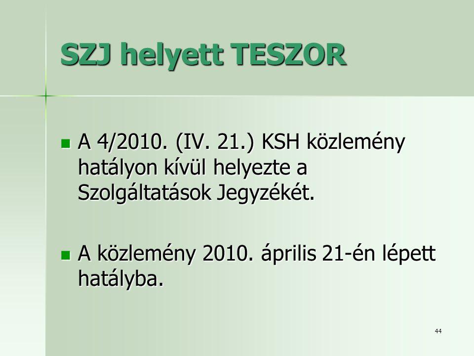 SZJ helyett TESZOR A 4/2010. (IV. 21.) KSH közlemény hatályon kívül helyezte a Szolgáltatások Jegyzékét.