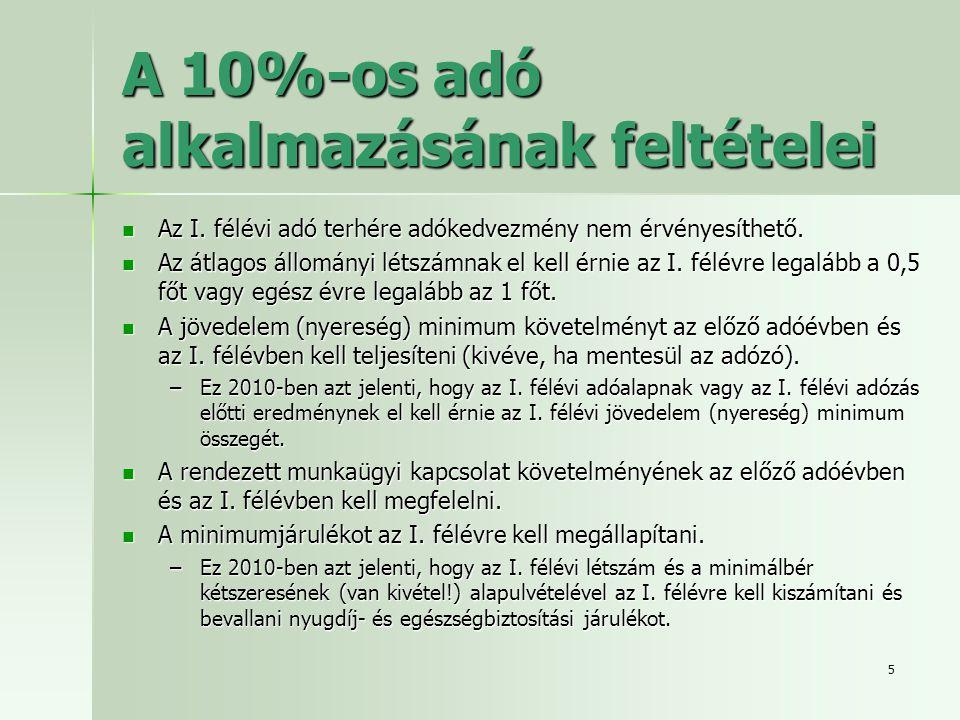 A 10%-os adó alkalmazásának feltételei