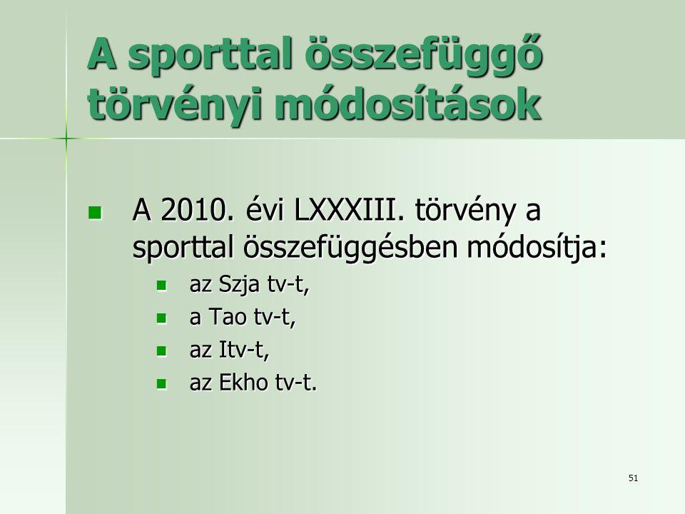 A sporttal összefüggő törvényi módosítások