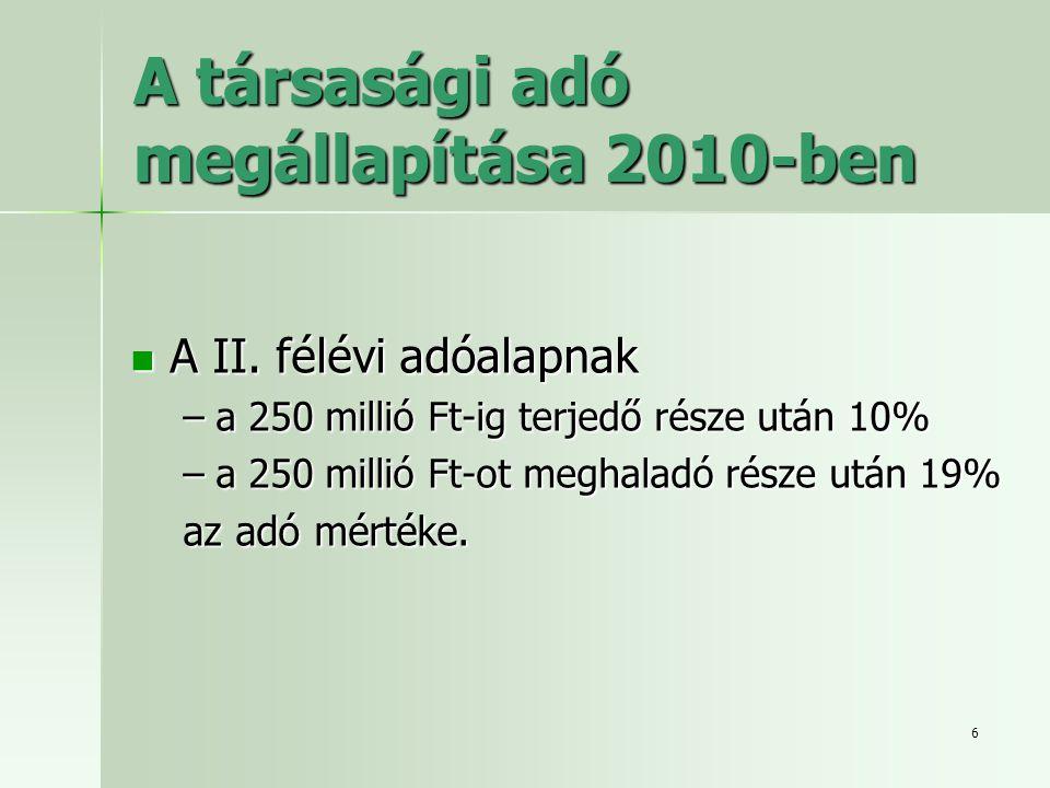 A társasági adó megállapítása 2010-ben