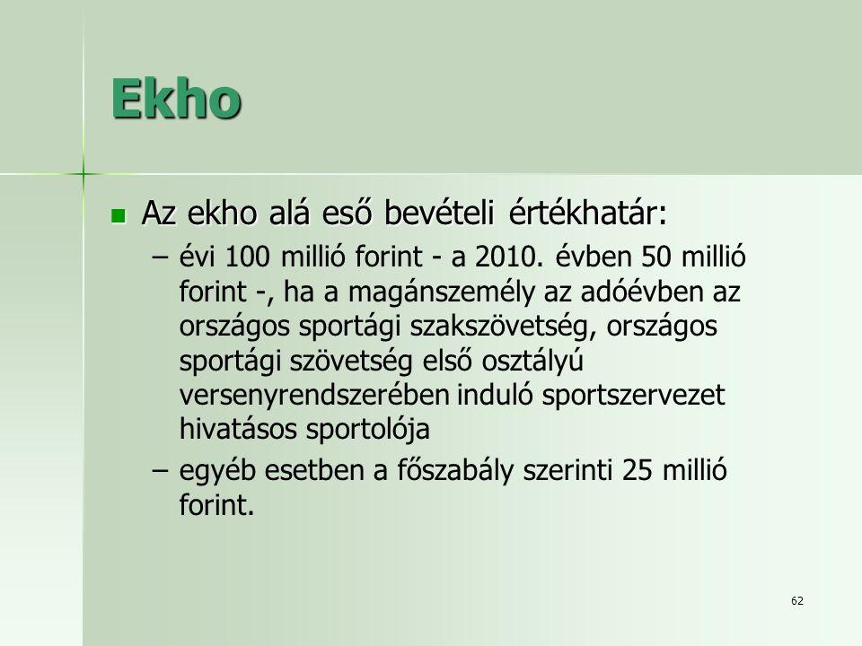 Ekho Az ekho alá eső bevételi értékhatár: