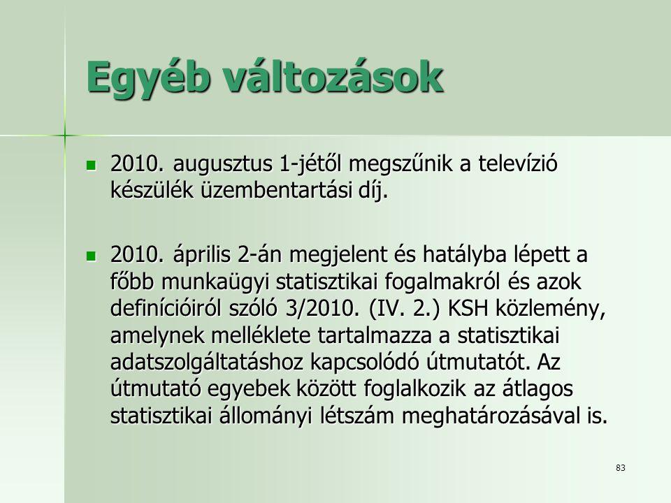 Egyéb változások 2010. augusztus 1-jétől megszűnik a televízió készülék üzembentartási díj.