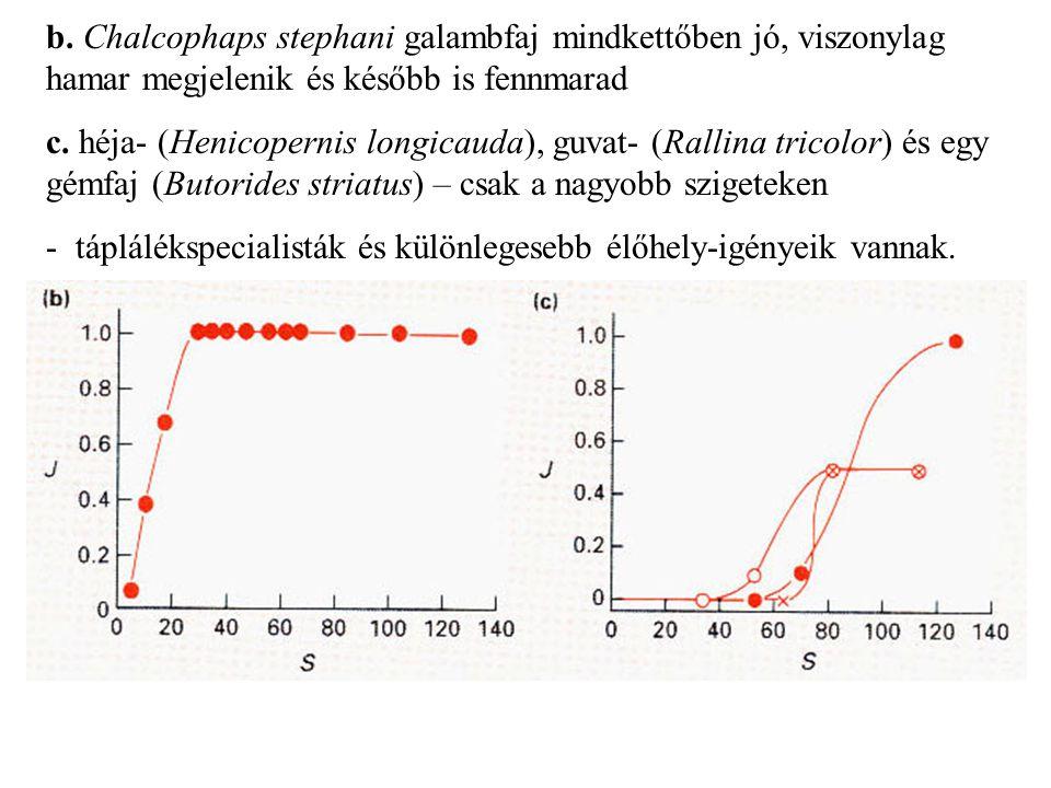 b. Chalcophaps stephani galambfaj mindkettőben jó, viszonylag hamar megjelenik és később is fennmarad