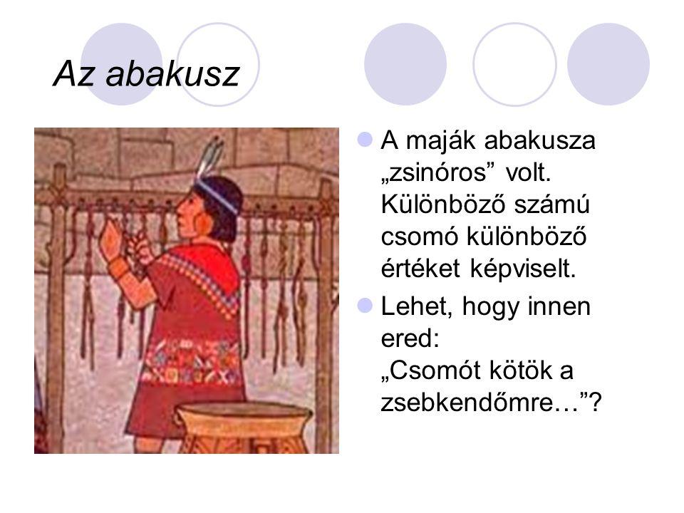 """Az abakusz A maják abakusza """"zsinóros volt. Különböző számú csomó különböző értéket képviselt."""