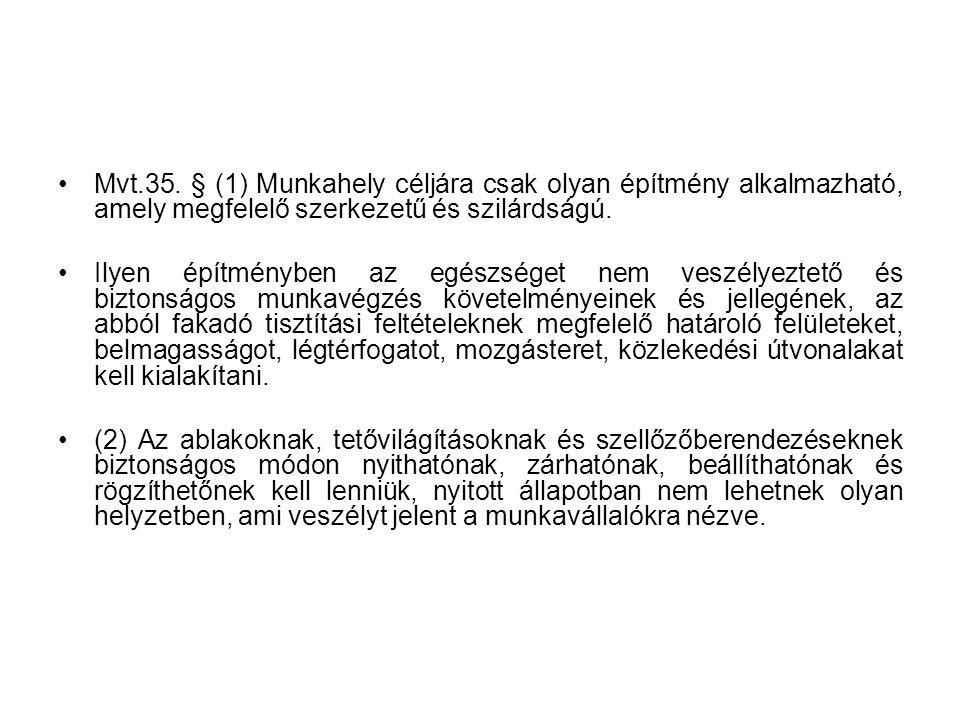 Mvt.35. § (1) Munkahely céljára csak olyan építmény alkalmazható, amely megfelelő szerkezetű és szilárdságú.