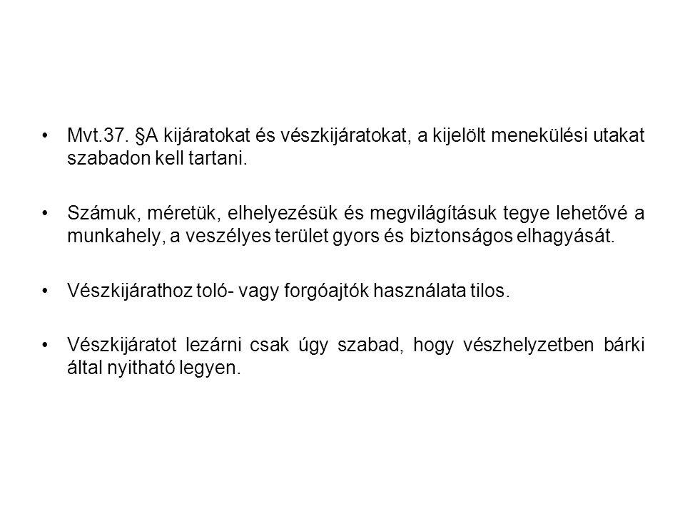 Mvt.37. §A kijáratokat és vészkijáratokat, a kijelölt menekülési utakat szabadon kell tartani.
