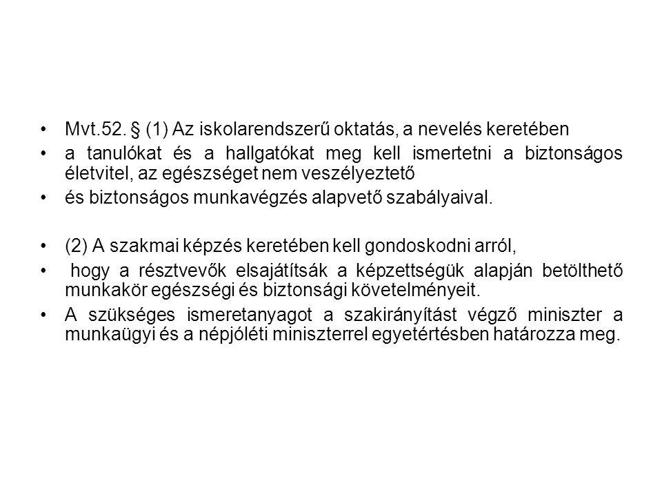 Mvt.52. § (1) Az iskolarendszerű oktatás, a nevelés keretében